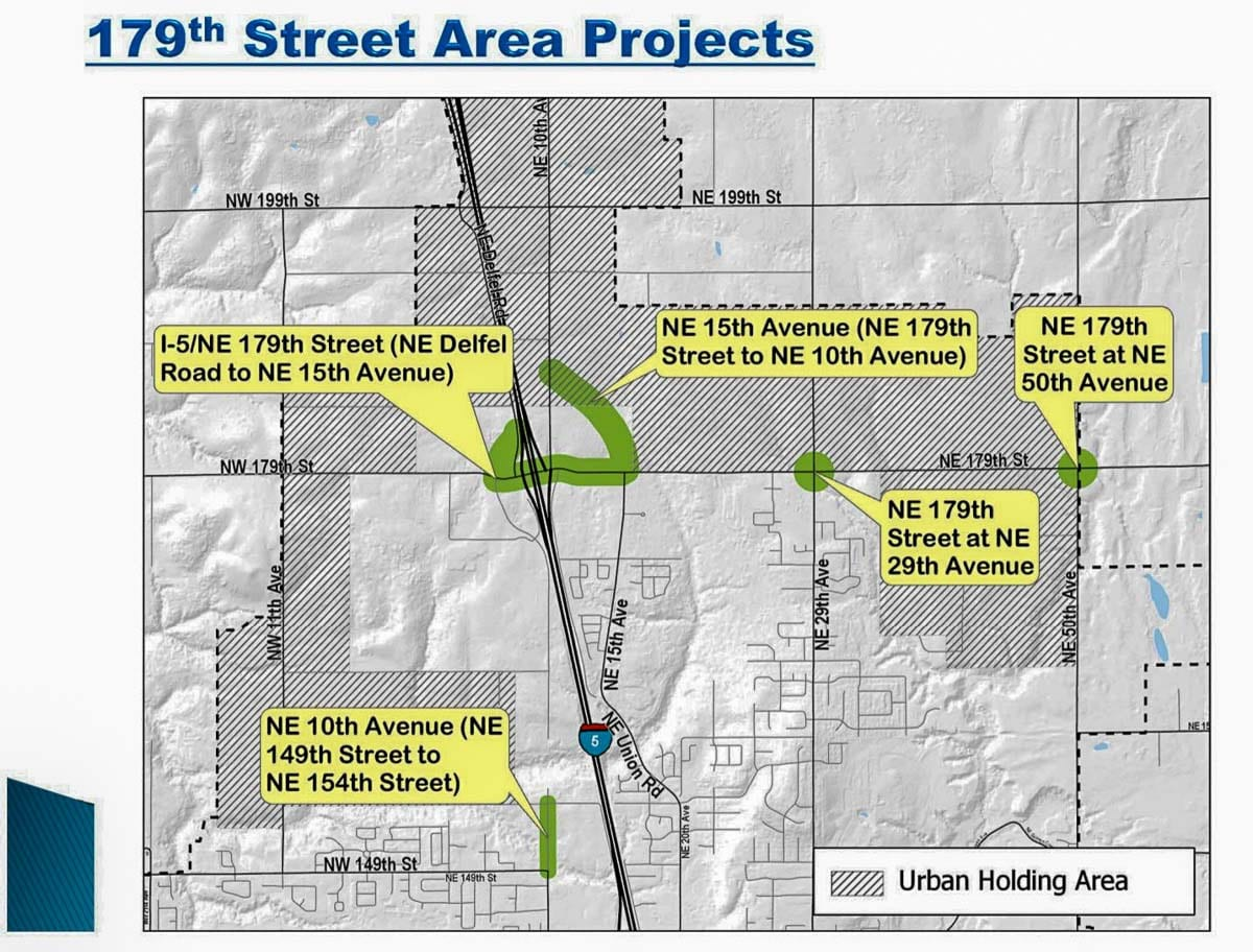 This map shows the projected traffic improvements around the 179th Street I-5 interchange area. Image courtesy Clark County Public Works