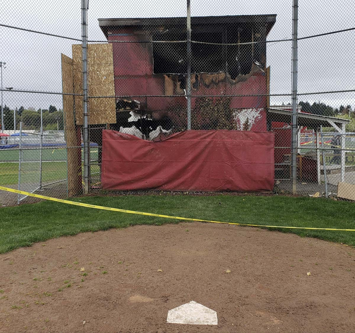 This building by the main field of Alcoa Little League was gutted by fire on March 27. The league stored much of its equipment in the building and lost it all. Photo by Paul Valencia