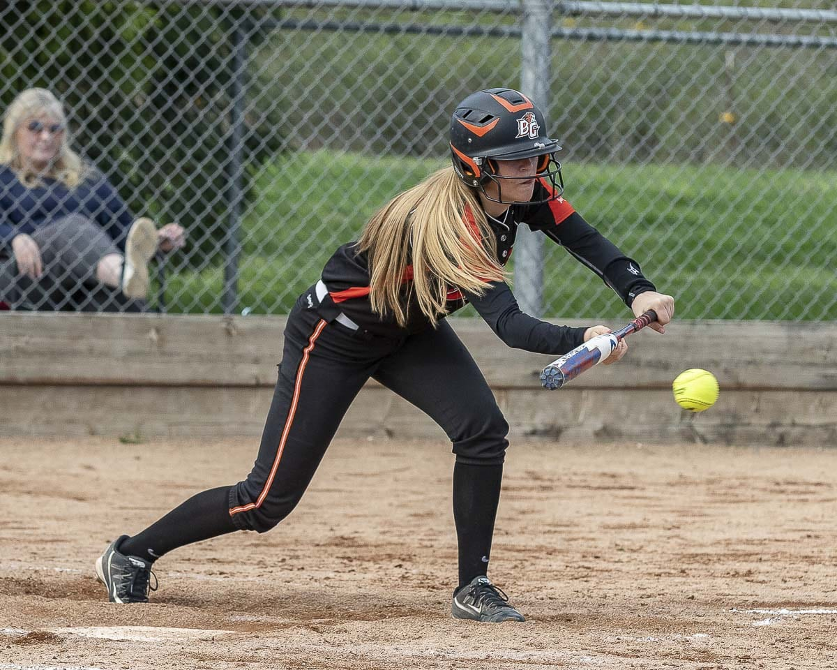 Brianna Adams is one of several Battle Ground players who can hit for power or play small ball. The team's unpredictability is a key to its success, the Tigers say. Photo by Mike Schultz