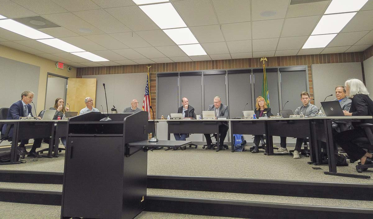 Battle Ground School Board meets to discuss cuts to district teaching staff. Photo by Chris Brown