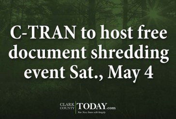 C-TRAN to host free document shredding event Sat., May 4