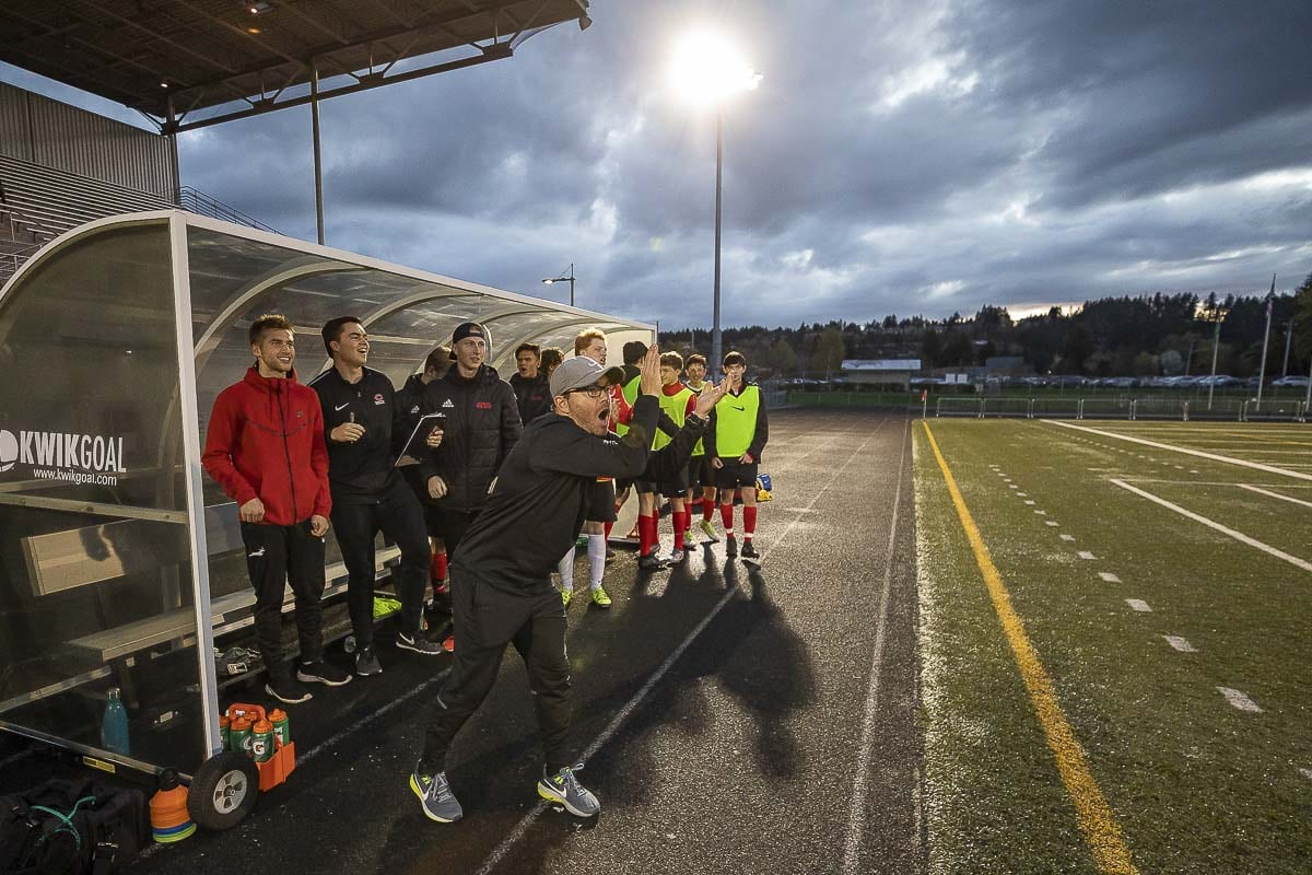 Camas coach Dan Macaya said he believes this group has what it takes to return to the top of the 4A Greater St. Helens League. Photo by Mike Schultz