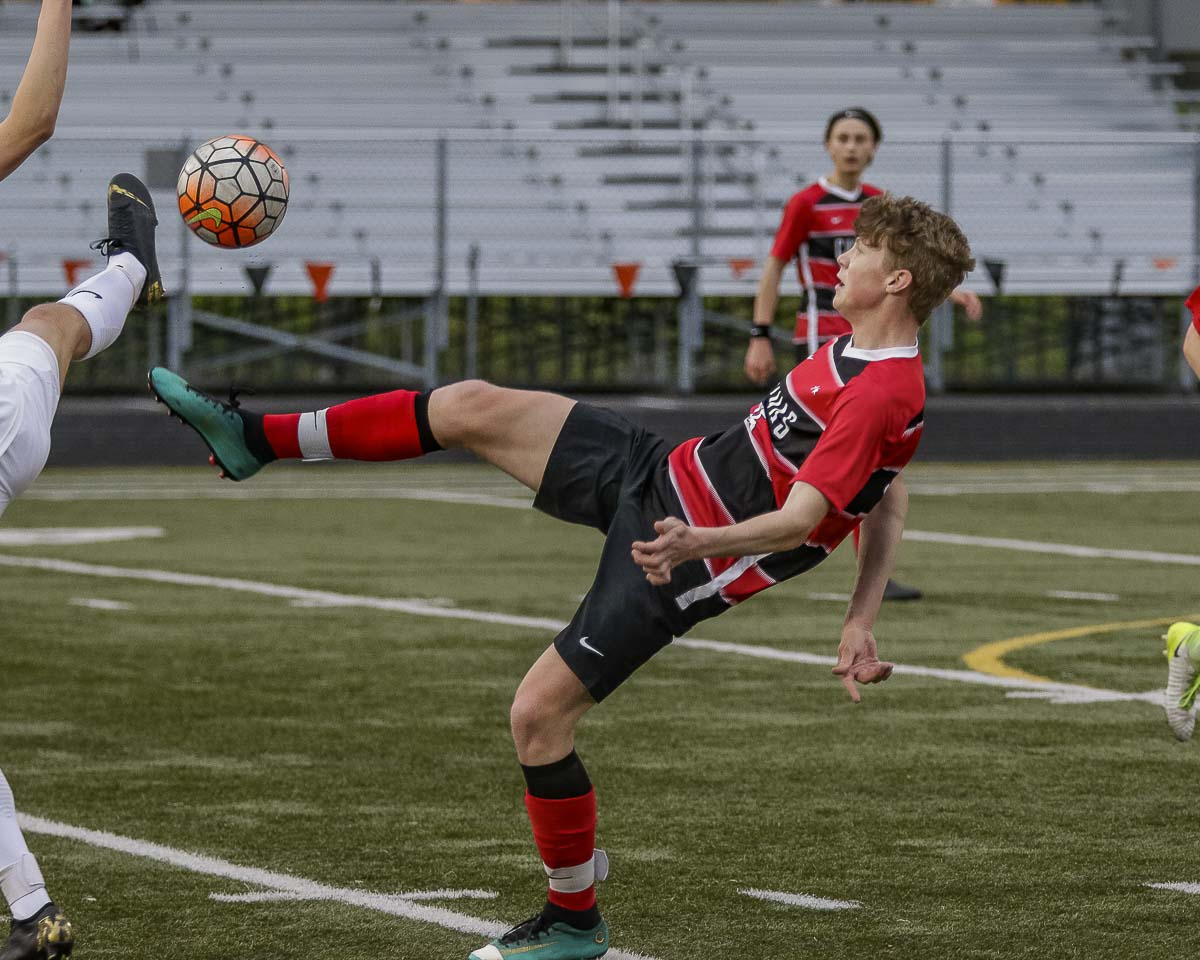 Matthew Sorbel and the Camas Papermakers are in another close battle in the 4A Greater St. Helens League. A year ago, the Papermakers fell a goal short of reaching the playoffs. Camas, with its incredible boys soccer history, is hoping to return to the postseason this spring. Photo by Mike Schultz