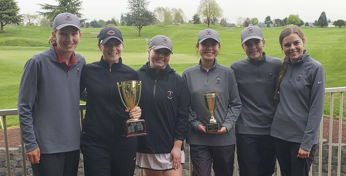 The Camas Papermakers won the Titan Cup on Monday, beating Mercer Island in a tiebreaker in the morning singles, then topping Union 3-0 in the alternate-shot format. This is the fourth consecutive Titan Cup for Camas. Photo by Paul Valencia