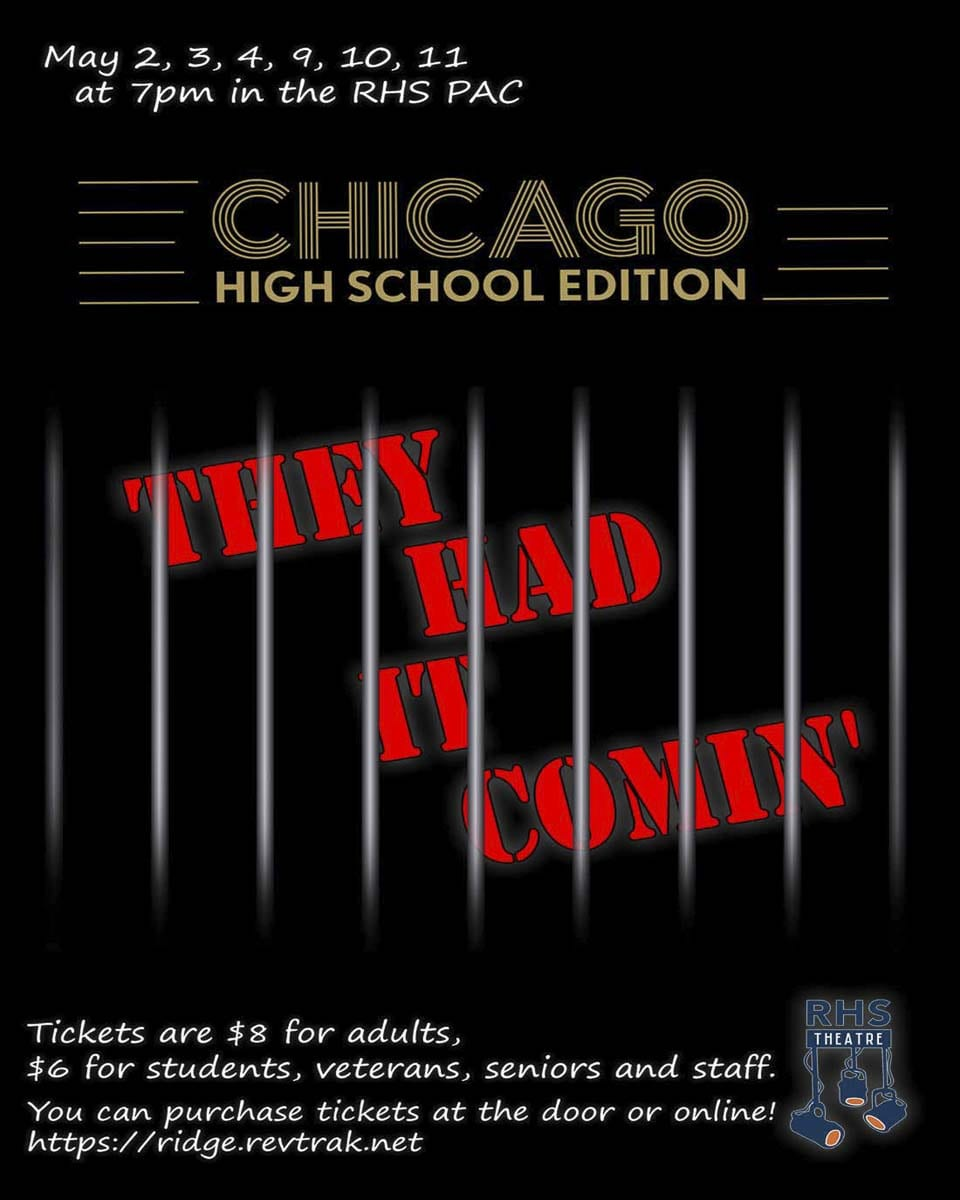 Ridgefield High School Theatre presents Chicago: High School Edition in the Ridgefield High School Performing Arts Center, May 2-4 and 9-11 at 7 p.m.