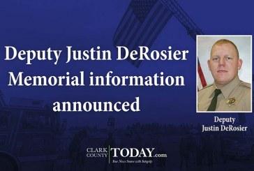Deputy Justin DeRosier Memorial information announced