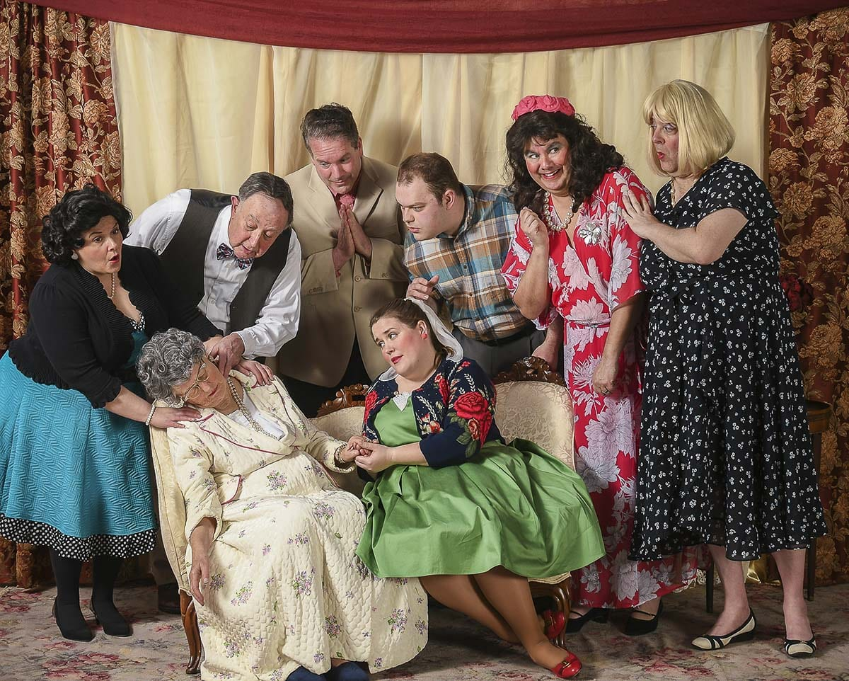 The cast of Leading Ladies are shown here (from left): Tracy Sacdalan (Portland) plays her niece Meg; Lexy Dillon (Boring) plays Aunt Florence; Tom Golik (Woodland) plays Doc Myers; Dave Cavallaro (Woodland) plays the fussy minister Duncan Wooley; Katie Klaus (Ridgefield) as the roller skating waitress Audrey; Henry Lorch (Vancouver) as the not so bright boyfriend, Butch; Kevin Taylor (Longview) as Leo Clark posing as the long lost niece Max; and Craig Hoehne (Longview) as Jack Gable posing as the other long lost niece Steve. Photo courtesy of Mike Patnode