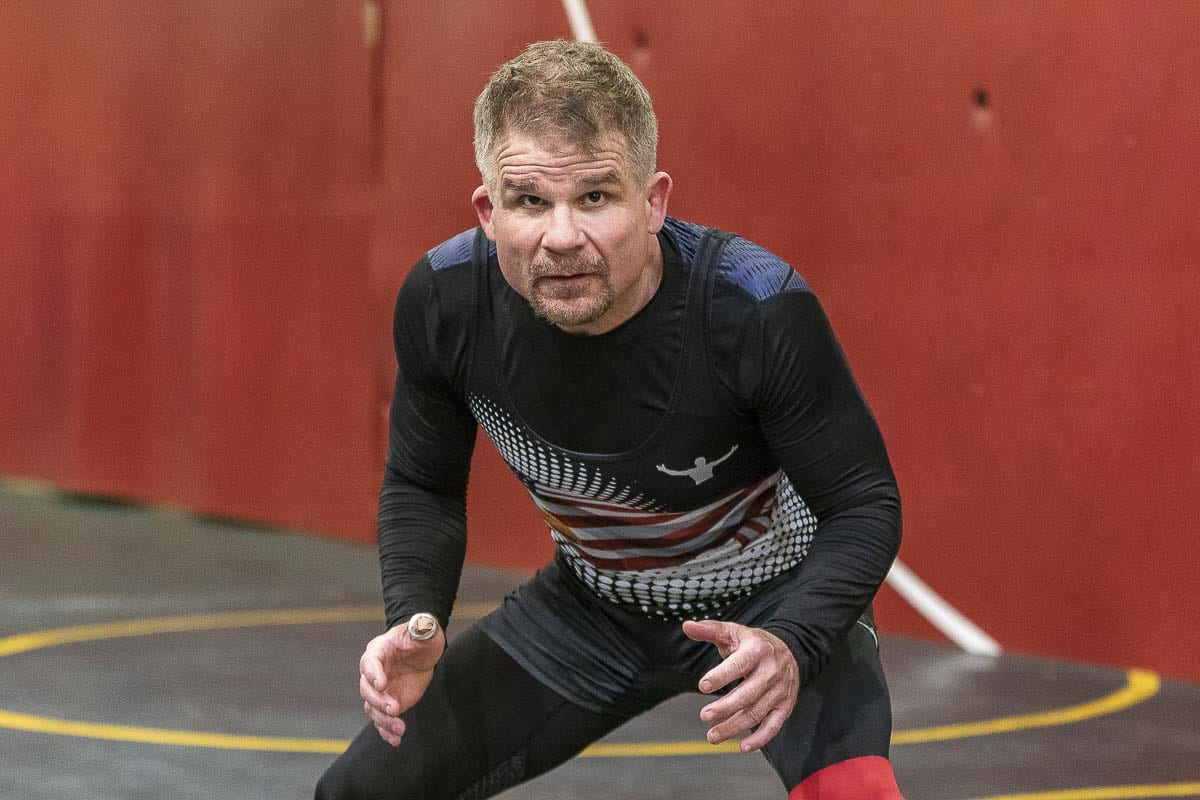 Karl Johnson of La Center is planning to return to the wrestling mat at 55 years of age. He has lost more than 60 pounds the past year. Photo by Mike Schultz