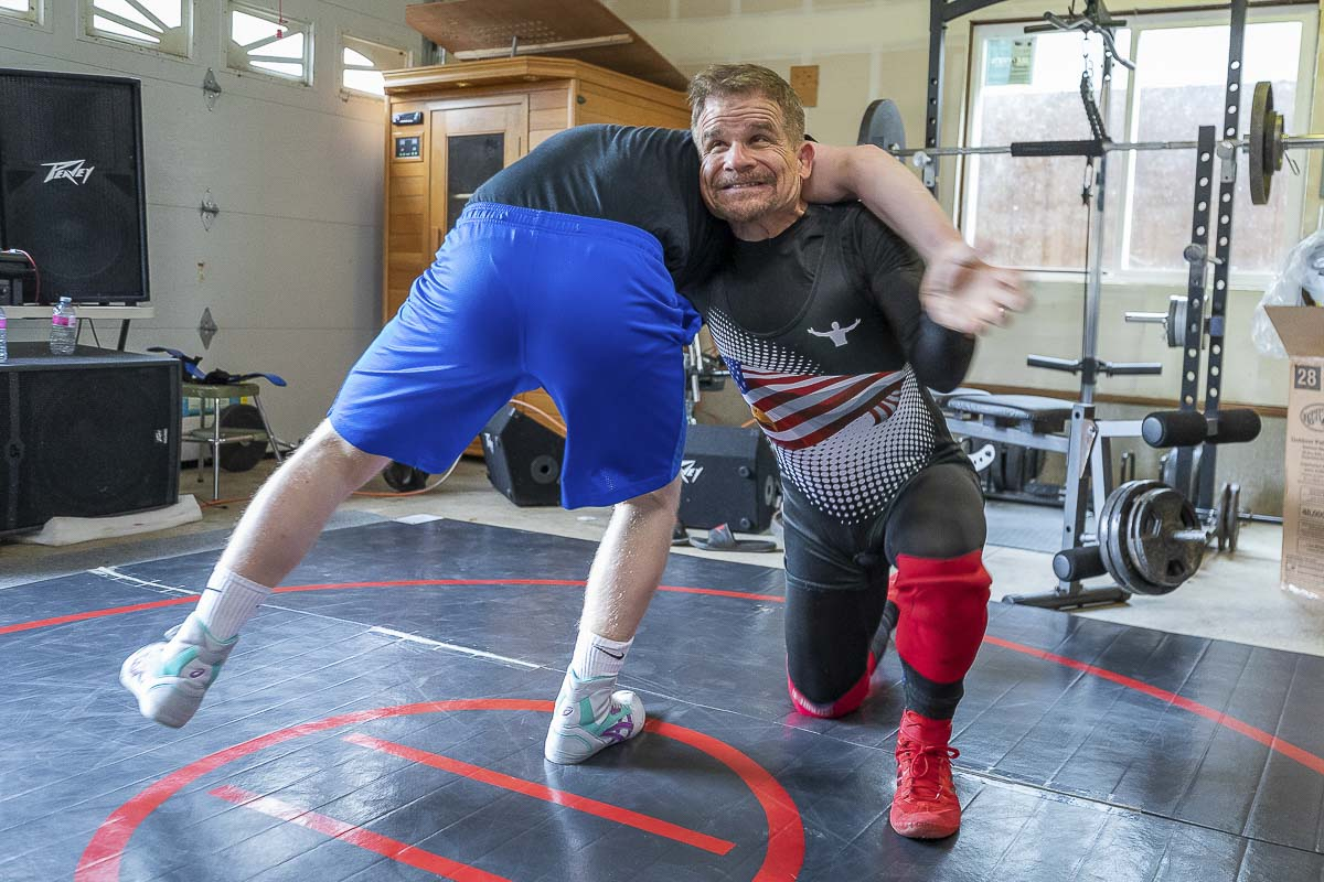 Karl Johnson was a standout wrestler in his high school days. Now 55, he will return to the mat later this month in Las Vegas as part of the veterans classification of the U.S. Open. Photo by Mike Schultz