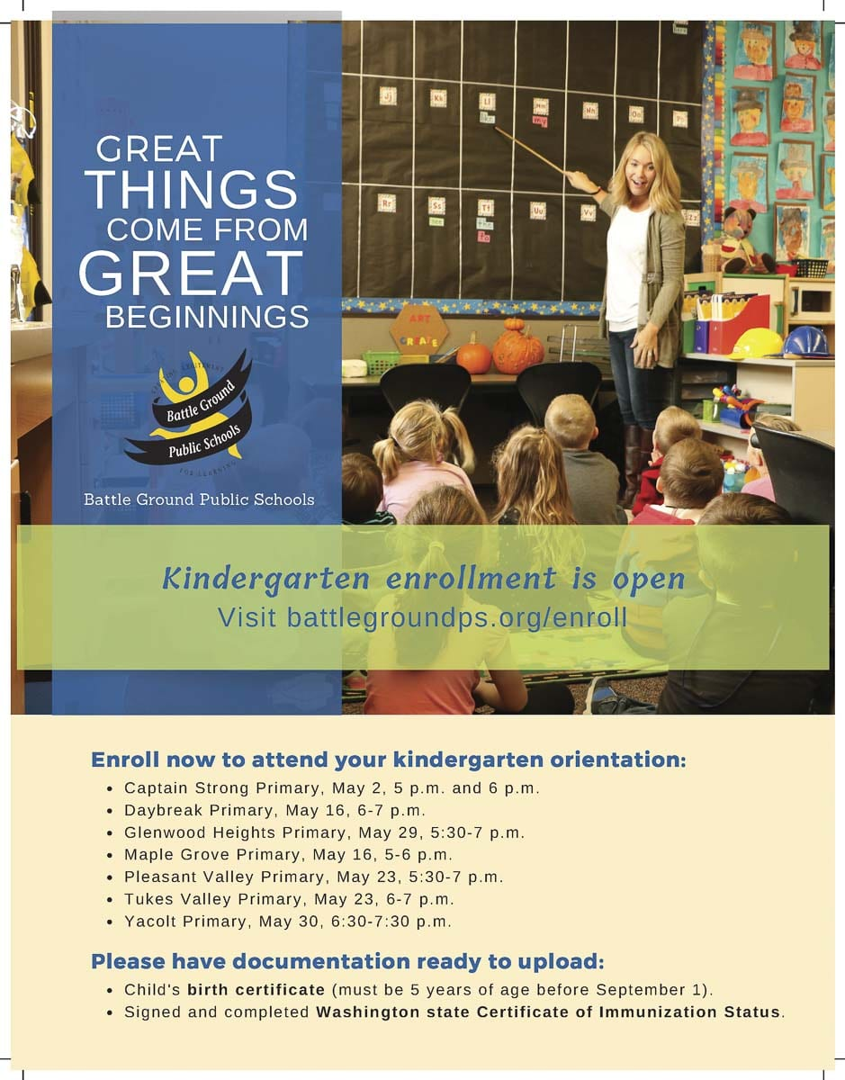 Battle Ground area parents are encouraged to enroll their children now so they can attend the orientation at their school and learn more about the kindergarten program