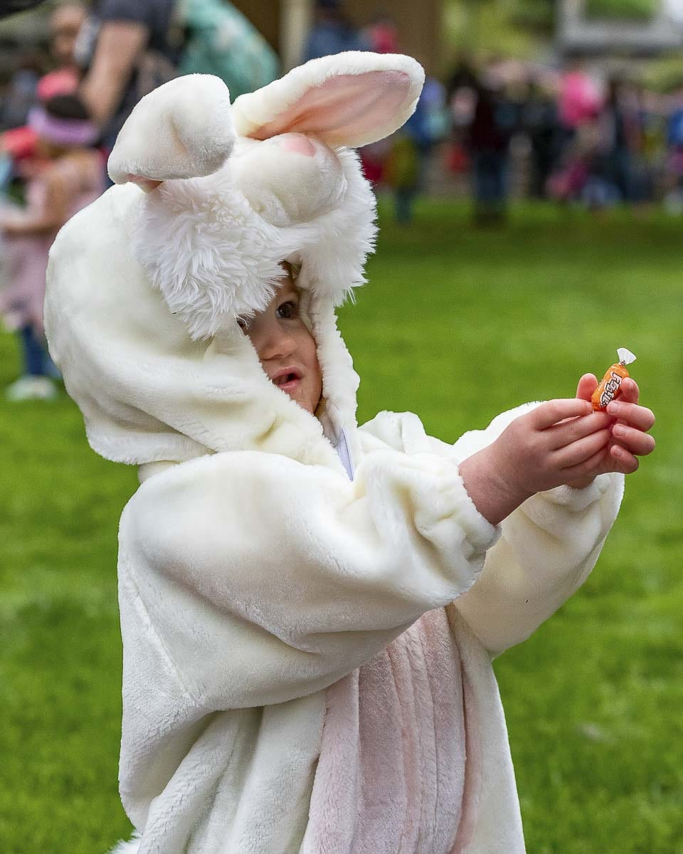Loretta Hill was dressed appropriately for the Easter Egg Hunt held Saturday at Esther Short Park in Vancouver. Photo by Mike Schultz