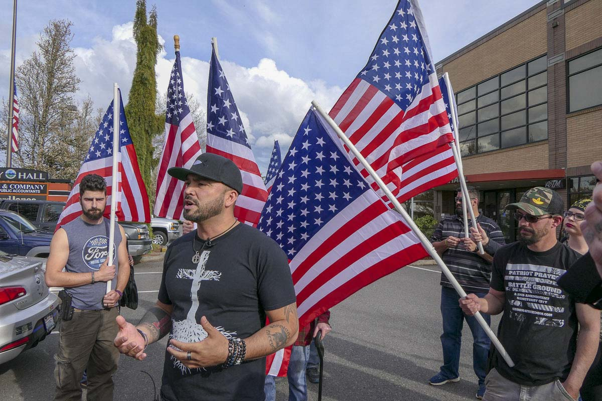 Patriot Prayer leader Joey Gibson speaks outside Battle Ground City Hall after winning an appeal of their permit to hold a rally at a Battle Ground park. Photo by Chris Brown