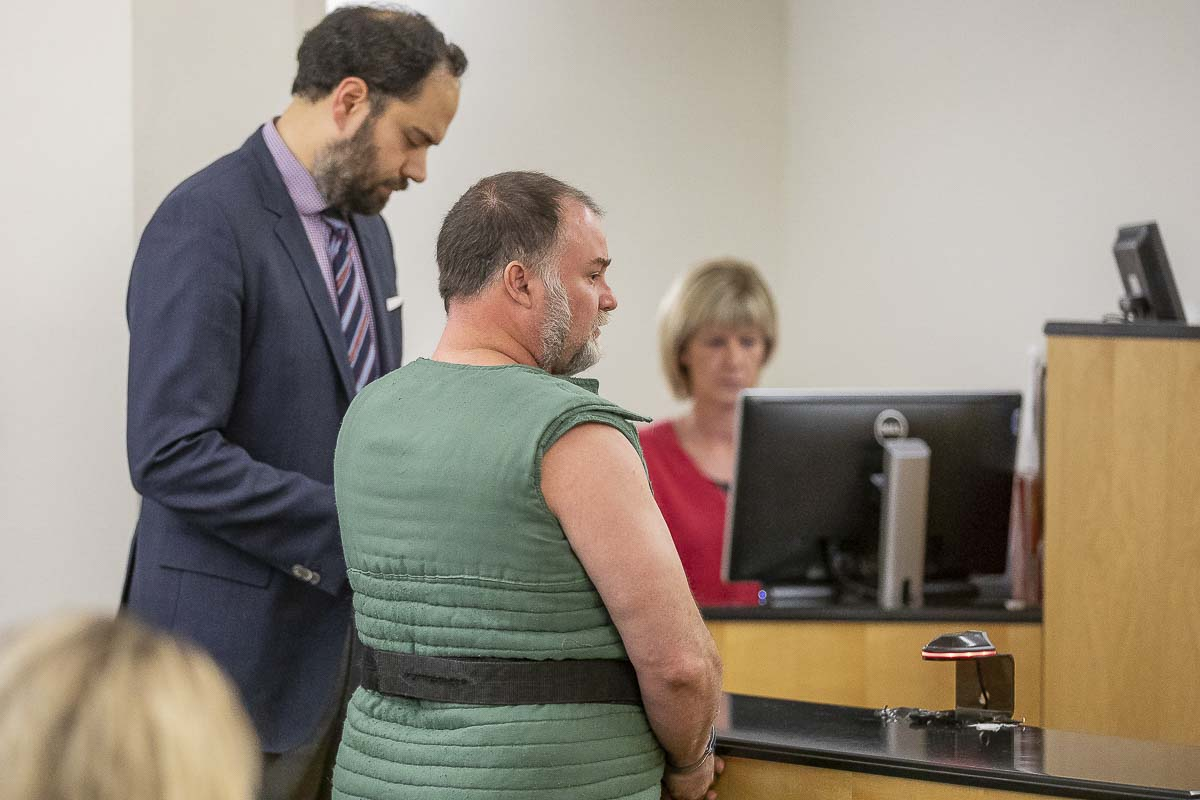 Randy John Schmidt appears before Clark County Superior Court Judge Daniel Stahnke Wednesday on a charge of 2nd-degree murder in the death of Michael Chad Holmes. Photo by Mike Schultz
