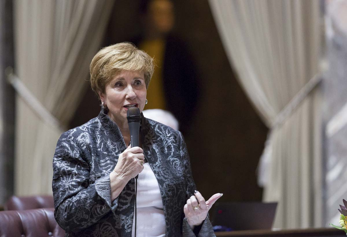 Senator Lisa Wellman (D-Mercer Island) at a legislative hearing. Photo courtesy WA Senate Democrats