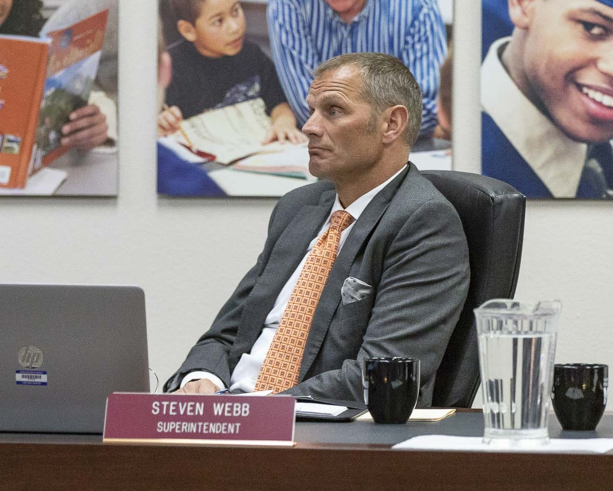 Vancouver Schools Superintendent Steve Webb listens to citizen testimony regarding the Gaiser Middle School incident at a recent board meeting. Photo by Mike Schultz
