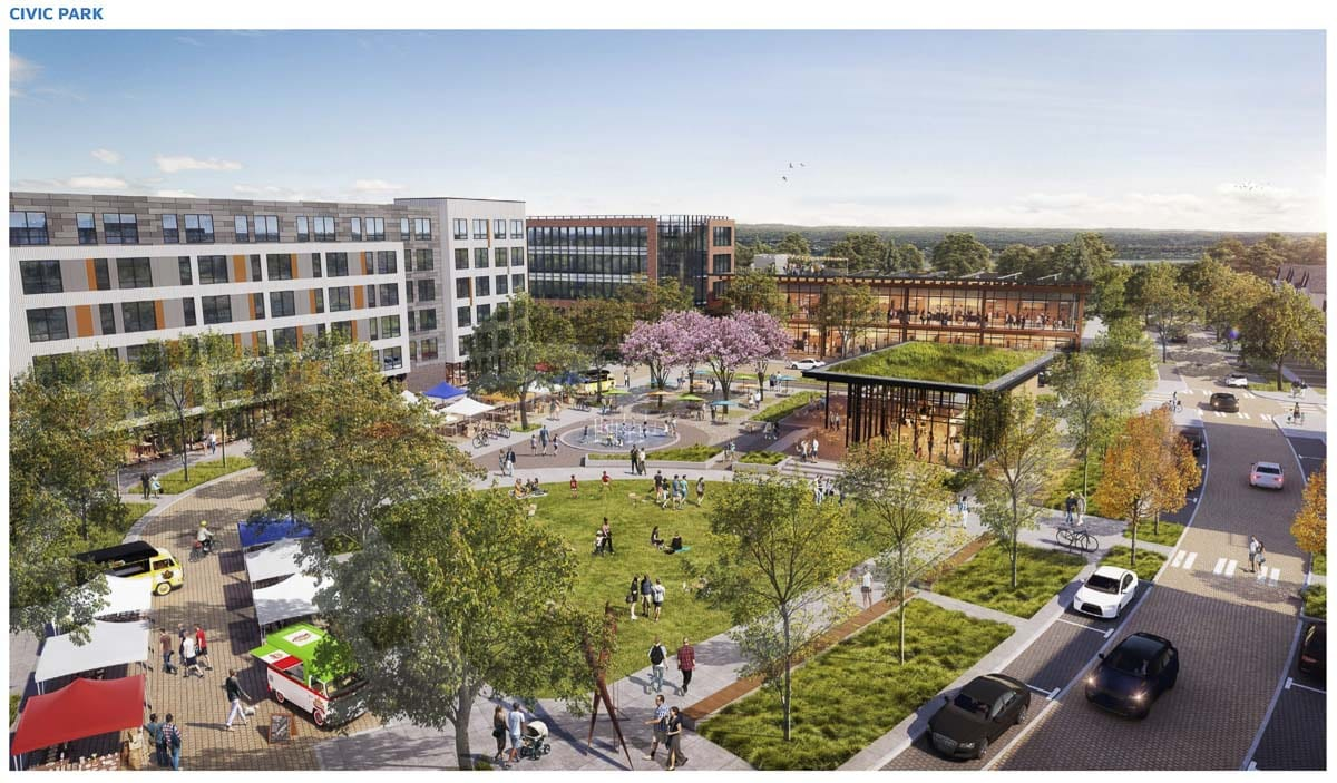 A rendering of the proposed Civic Park at the center of The Heights District redevelopment plan. Image courtesy city of Vancouver
