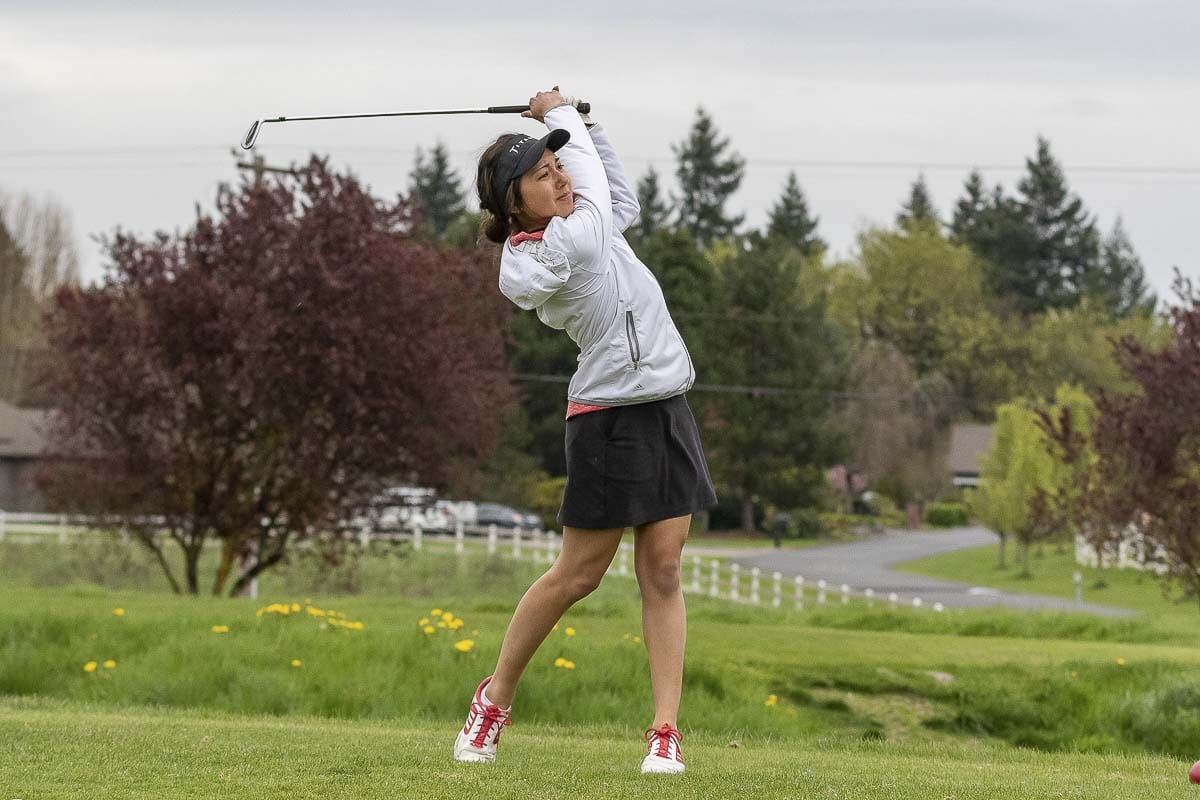 Union senior Callie Mills said she enjoys the team aspect of the Titan Cup. Playing alternate shot, one must rely on a teammate. Photo by Mike Schultz
