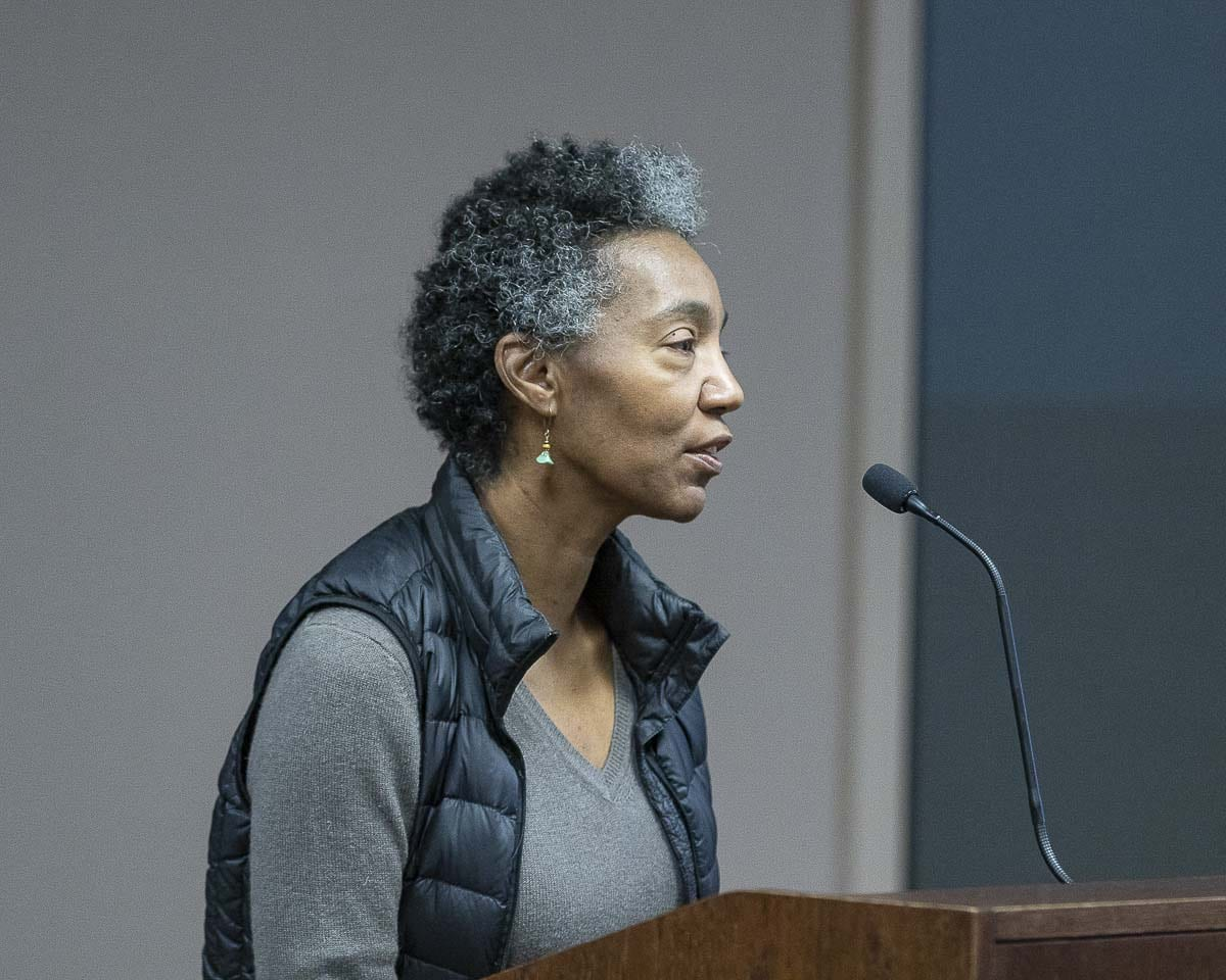 Cecilia Towner, founder of the Black Lives Matter Vancouver chapter speaks at a Vancouver School Board meeting in March. Photo by Mike Schultz