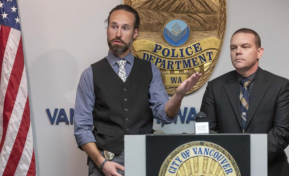 Vancouver Police Detectives Dustin Goudschaal, (left), and Neil Martin, (right), answer questions about the solving of a 25-year-old cold case. Photo by Mike Schultz