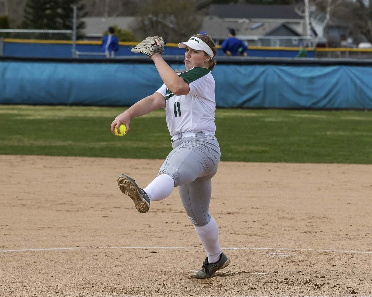 Woodland ace Olivia Grey has not given up an earned run this season. In fact, Woodland has only given up two runs, total, in 12 games. Photo by Mike Schultz