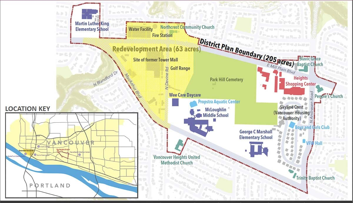 This map shows the proposed redevelopment area in The Heights District. Photo courtesy city of Vancouver