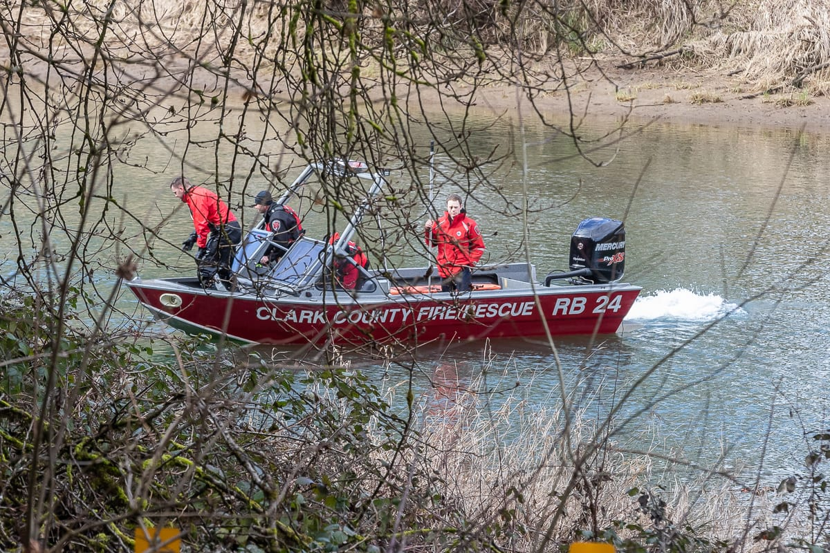 Clark County Fire and Rescue searches the East Fork Lewis River in early March after a vehicle was recovered. Photo by Mike Schultz