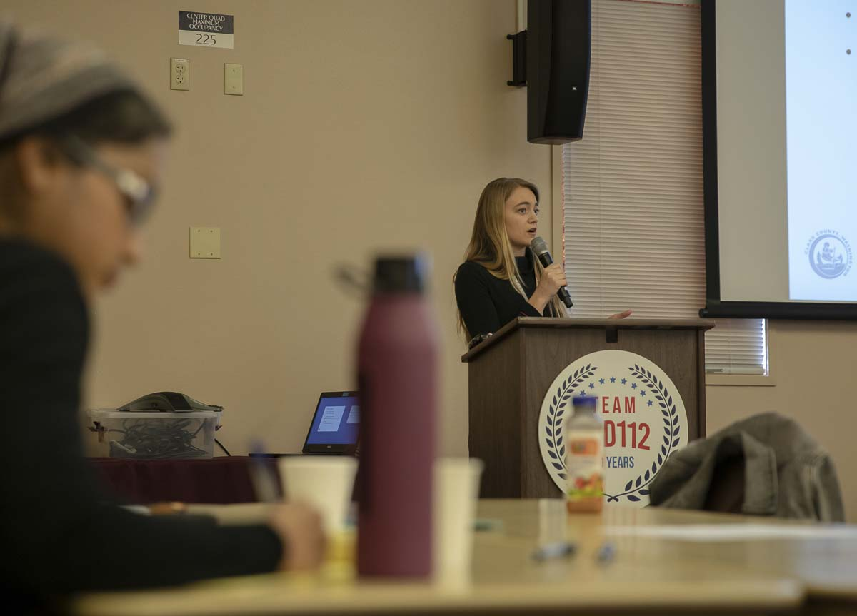 Kathleen Lovgren, an epidemiologist with Clark County Public Health, is shown here giving a presentation on the results of the 2018 Healthy Youth Survey in Clark County schools. Photo by Jacob Granneman