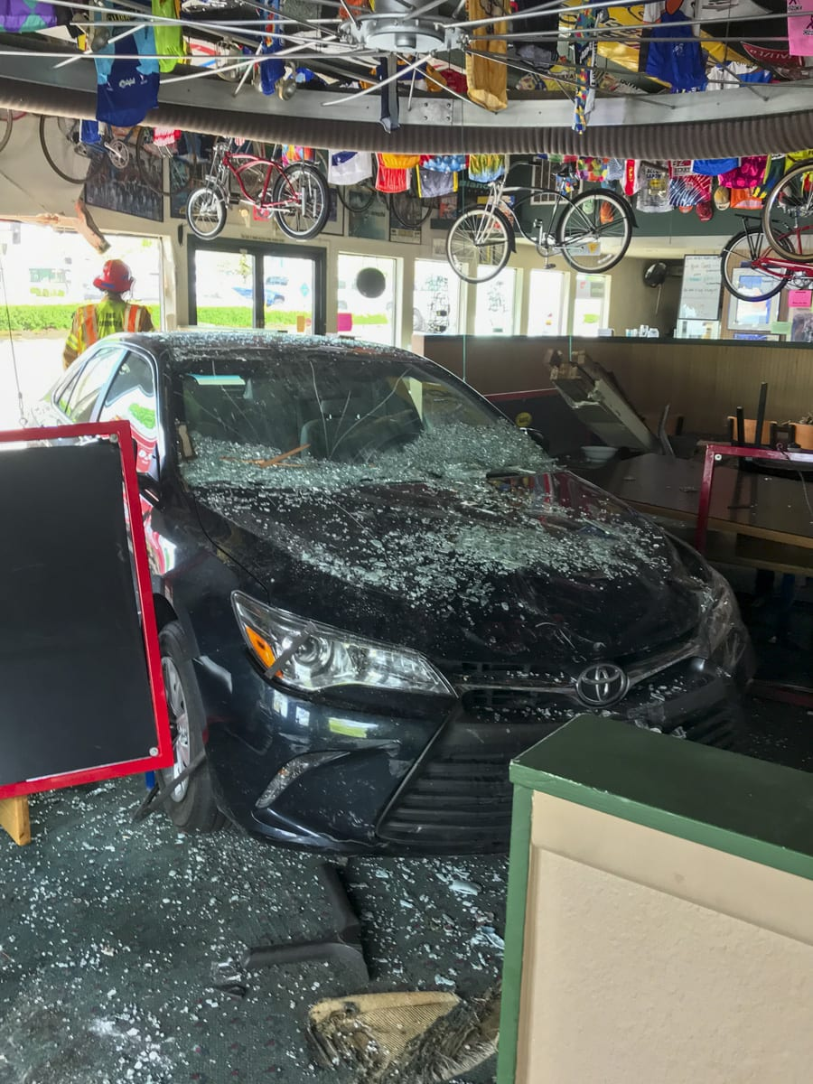 A car plowed through the front of Bortolamis Pizza in Hazel Dell on Tuesday, injuring two customers. Photo courtesy Clark County Fire Distric 6