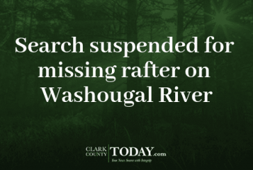 Search suspended for missing rafter on Washougal River