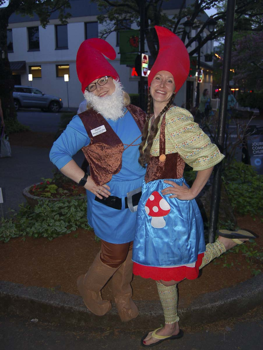 Shannon Van Horn and Amanda Whitcombe are shown at the May First Friday event held last year. Photo courtesy of the Downtown Camas Association