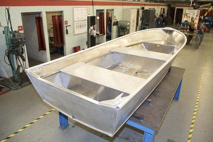 Beginning May 1, Clark will make a number of national welding certifications available for testing. This 2017 photo shows a 14-foot aluminum boat created entirely from scratch by Clark College welding students. Photo courtesy of Clark College