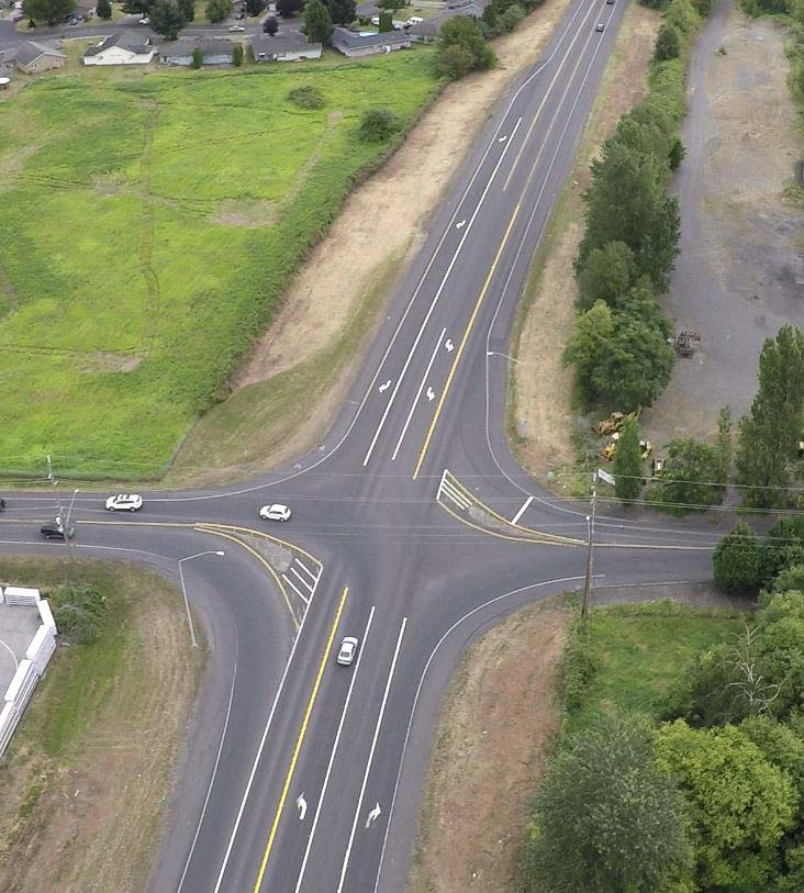 This aerial photo shows the location of the 15th Street/Washougal River Road roundabout. Photo courtesy of city of Washougal