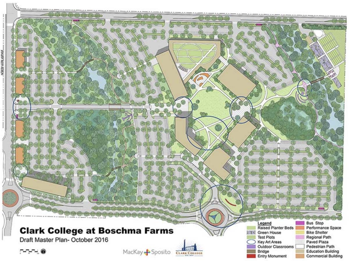 A map of the Clark College at Boschma Farms master plan. Photo courtesy Clark College