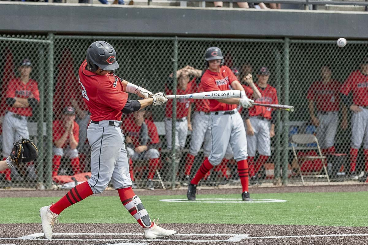 Quinten Sawyer of Camas had three hits in Saturday's state playoff game, including a triple and a double. He also scored his team's only run in a 5-1 loss to Issaquah. Photo by Mike Schultz