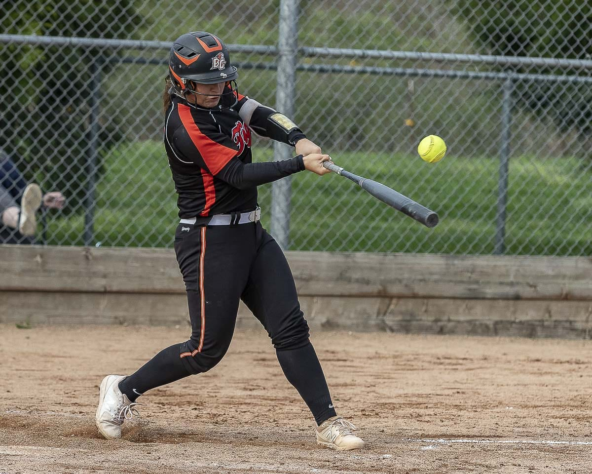 Grace Stillman of Battle Ground leads the team in just about every offensive category, including home runs and RBIs. Photo by Mike Schultz