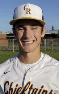 Nick Alder of Columbia River struck out four and did not give up an earned run, pitching into the seventh inning Tuesday as the Chieftains beat Centralia 8-1 in a district playoff baseball game. Photo by Paul Valencia