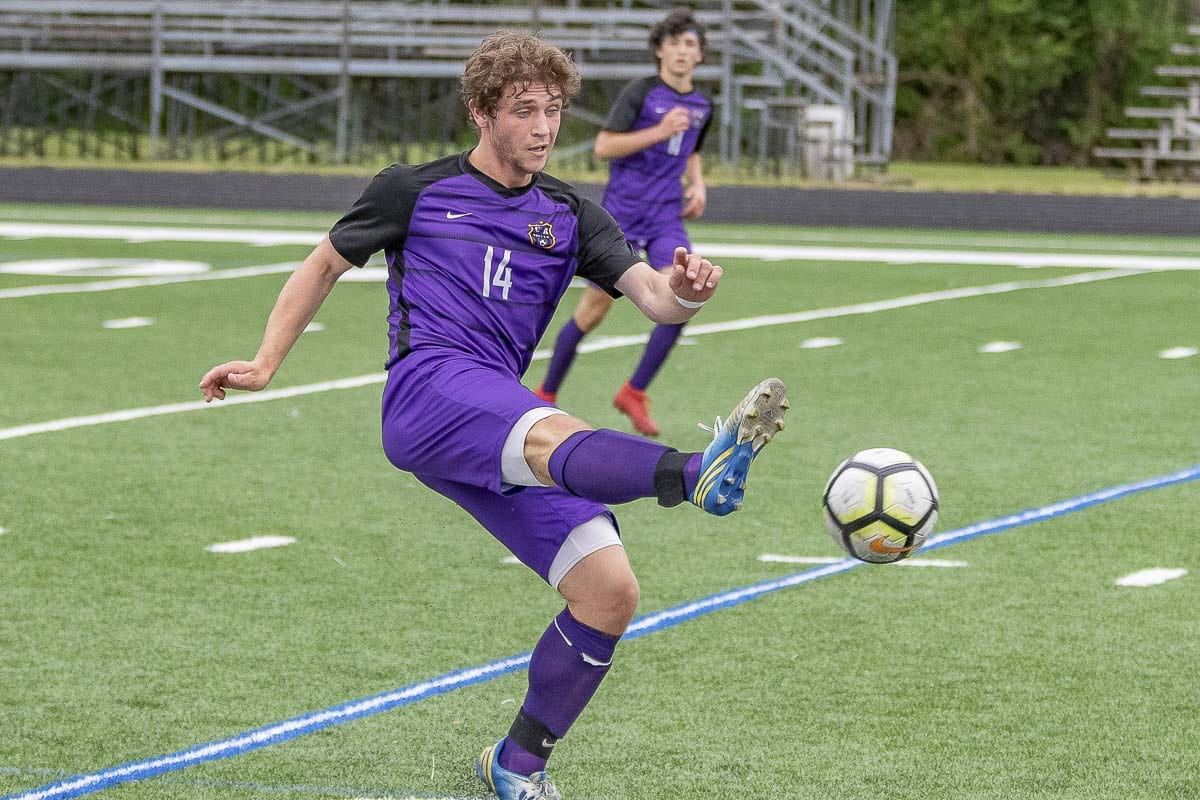 Jake Connop of Columbia River scored two goals and assisted on another in River's 4-1 win over Franklin Pierce in a Class 2A state quarterfinal boys soccer match Saturday. Photo by Mike Schultz