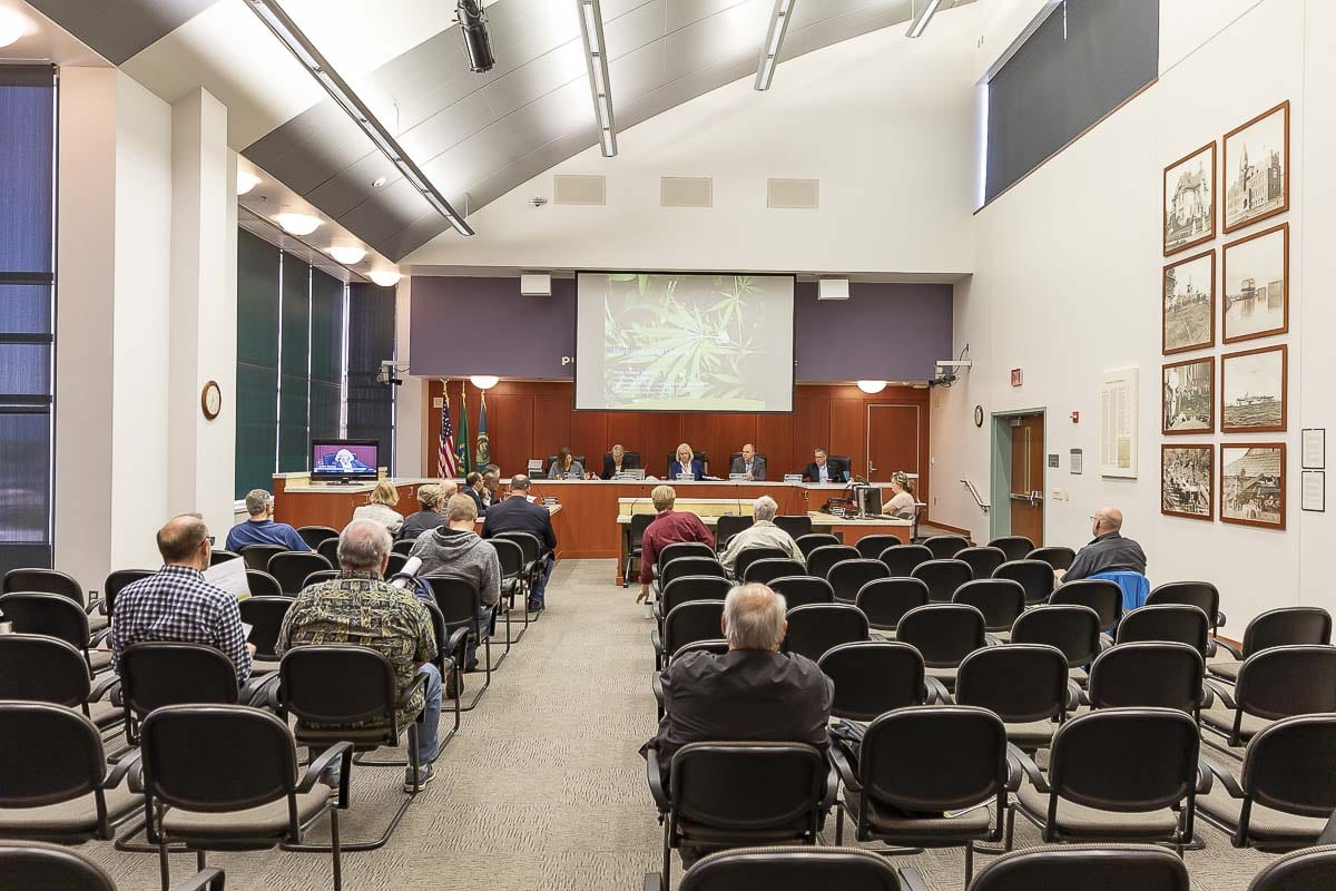 The Clark County Council, shown here at a recent work session, decided Tuesday night to update its hearing schedule. Hearings will begin at 6 p.m. on the first and third Tuesdays of the month. Photo by Mike Schultz