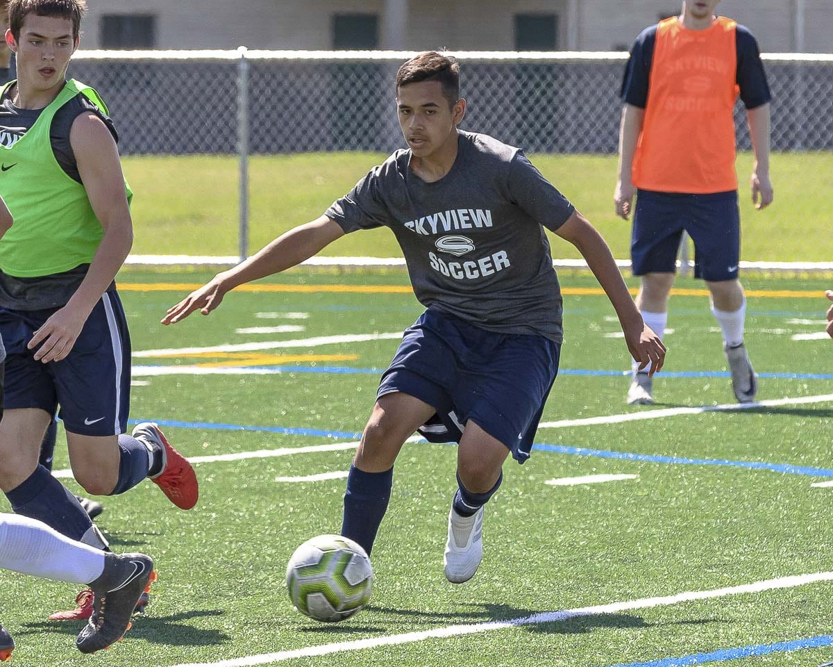 Skyview senior Diego Villalpando is a first-year varsity player who made a huge impact with the Storm. He is the team's second leading scorer. Photo by Mike Schultz