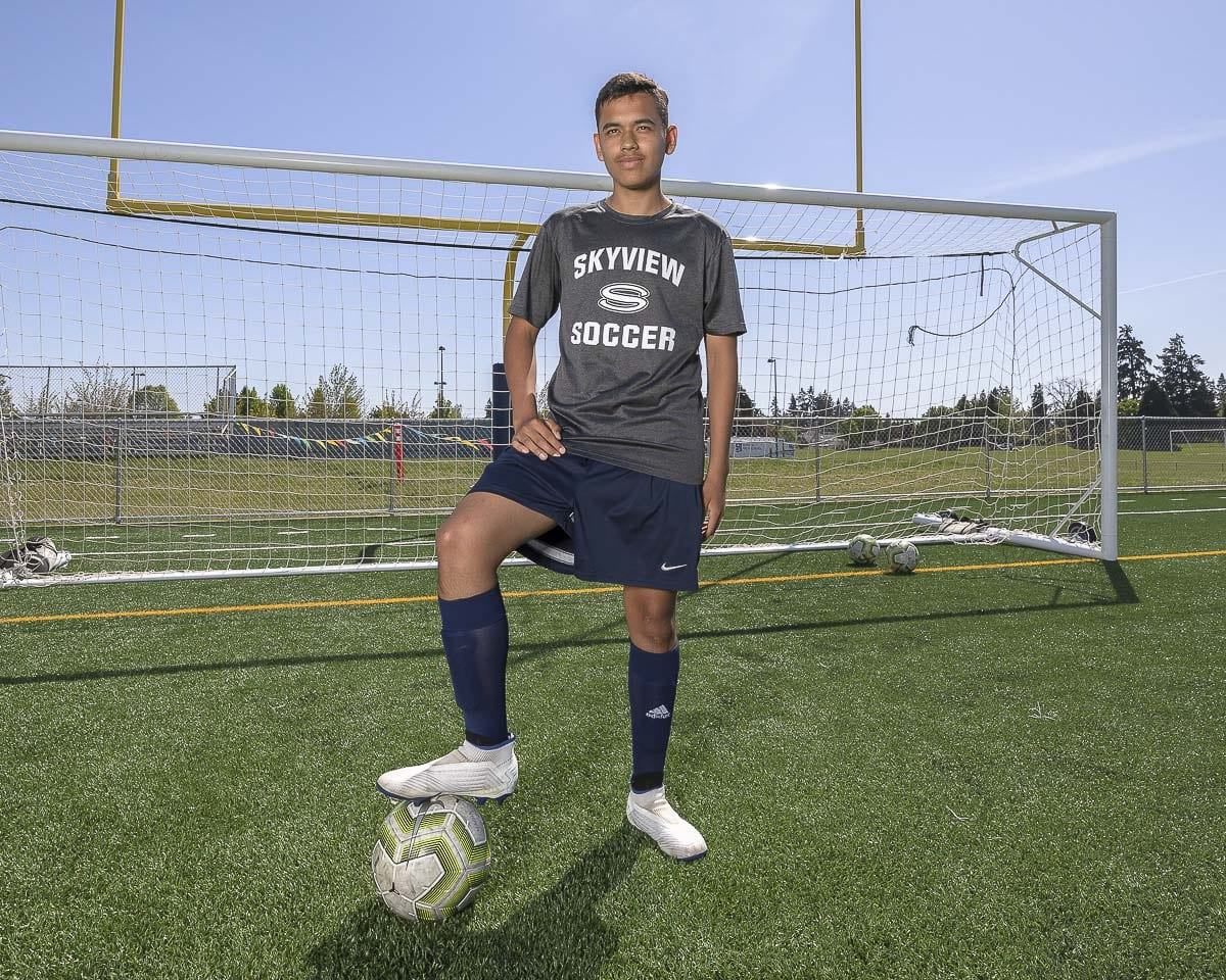 Diego Villalpando worked his entire high school career just to make it to the Skyview soccer squad. Now a senior, and on the team for the first time, he is hoping to help the Storm reach the state tournament. Photo by Mike Schultz