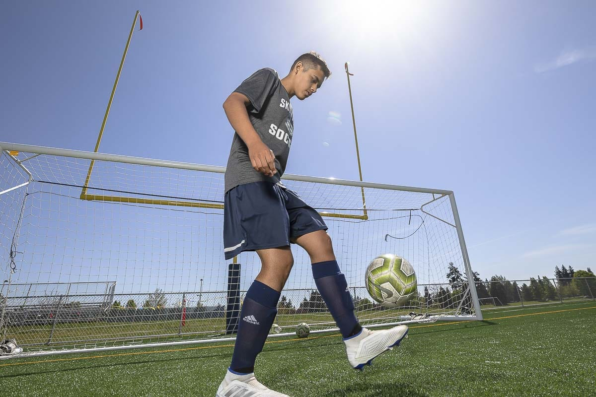 Diego Villalpando never gave up on his dream. Cut twice from the Skyview soccer program, he kept training, kept improving, and this year he has become one of the team's top players. Photo by Mike Schultz