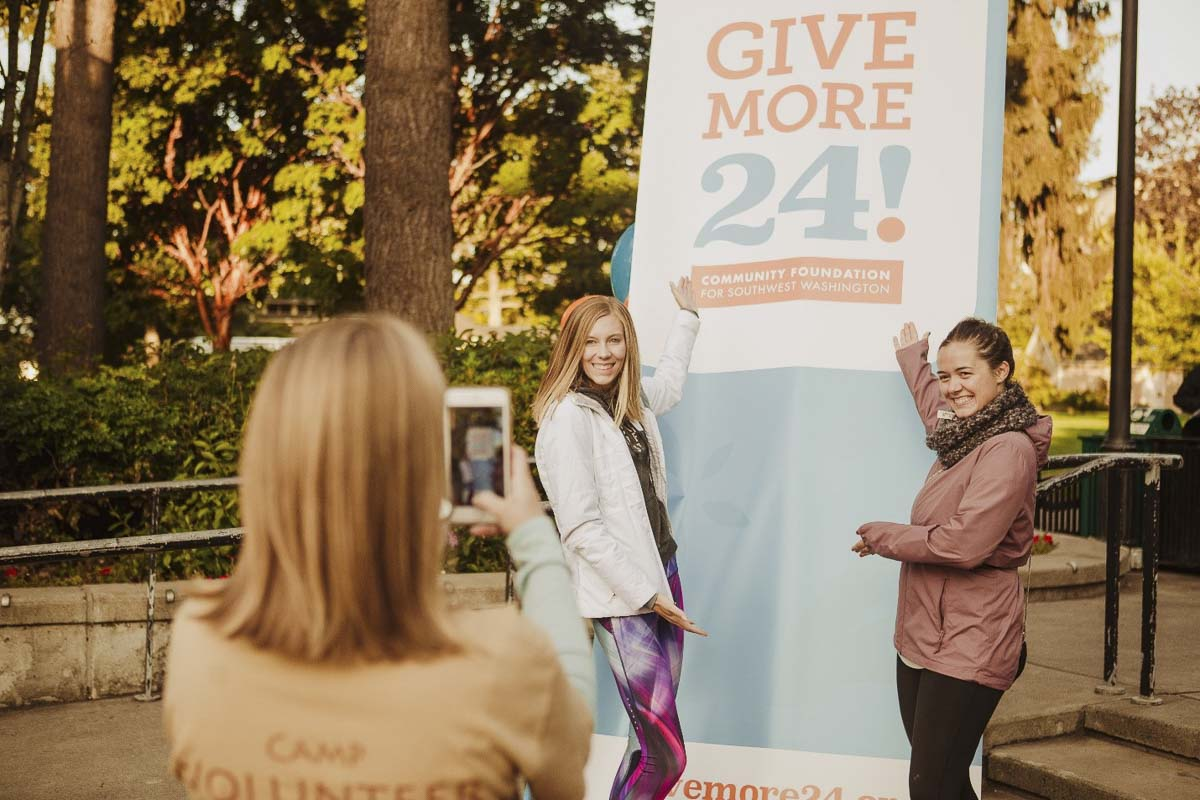 Nonprofit friends kickoff the 2018 event in Esther Short Park. The Give More 24! Rally sets a tone for the 24-hour stretch of online giving each year, inviting community members to participate in-person and celebrate our community's generosity. Photo courtesy of Community Foundation for Southwest Washington