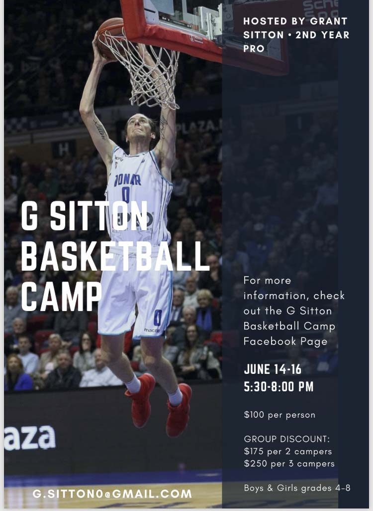 Grant Sitton, a former Prairie Falcon who plays professional basketball in Europe, will hold a clinic for area youngsters. Photo courtesy Sitton family