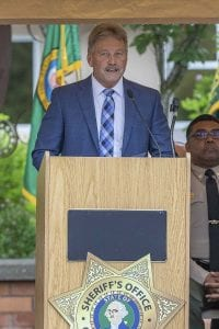 Guest speaker, Judge Daniel Stahnke of the Clark County Superior Court, is shown here at Thursday's Clark County Law Enforcement Memorial Ceremony. Photo by Mike Schultz