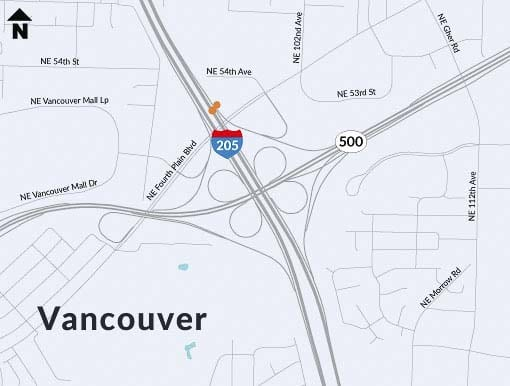 Two ramp meters will be installed at the on-ramps from SR 500 and Northeast Fourth Plain Boulevard, to northbound I-205. Graphic courtesy of Washington State Department of Transportation