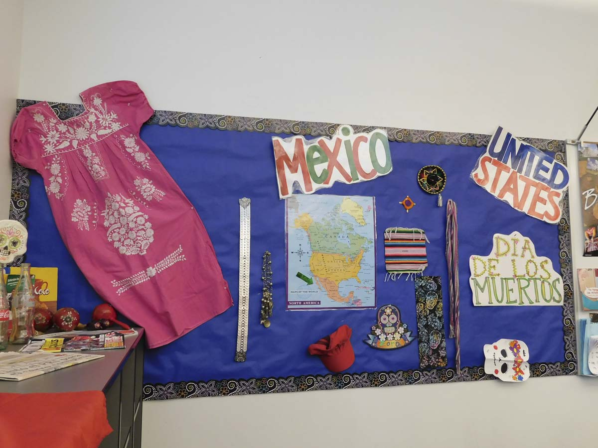 A colorful display marks the completion of a unit on Mexico by students at View Ridge Middle School. Photo courtesy of Ridgefield School District
