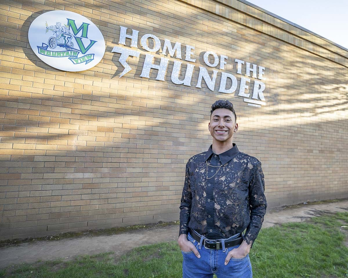 Jesus Villalba, a senior at Mountain View, has a passion for fashion. He is thrilled to be one of the designers for Saturday's showcase, Fashion Under the Stars. Photo by Mike Schultz