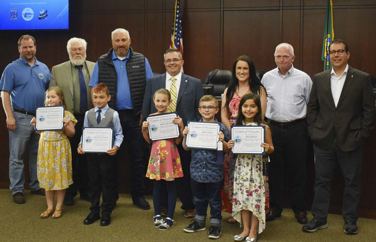 Five students were selected for exceptional work and were recognized at the May 6 Battle Ground City Council meeting. Photo courtesy of city of Battle Ground
