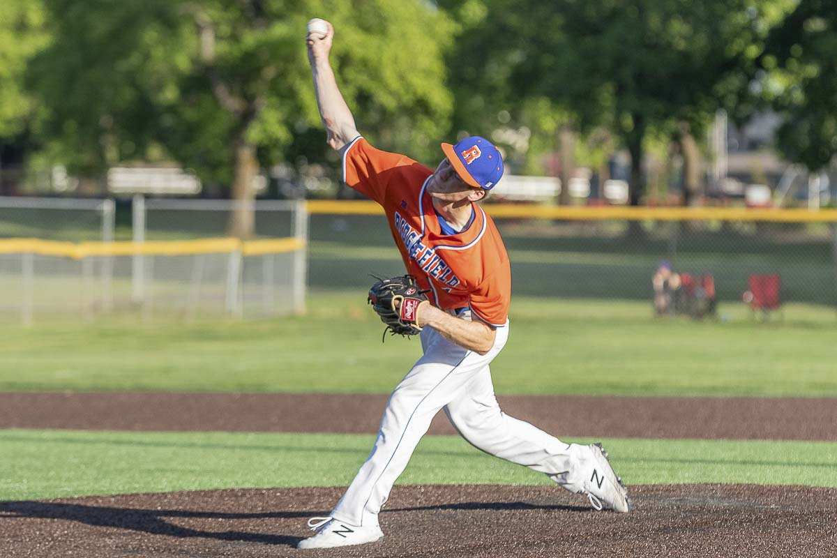 Ridgefield's Josh Mansur struck out three batters in his four-out relief appearance, earning the save in the Spudders' victory to claim the district baseball title. Photo by Mike Schultz