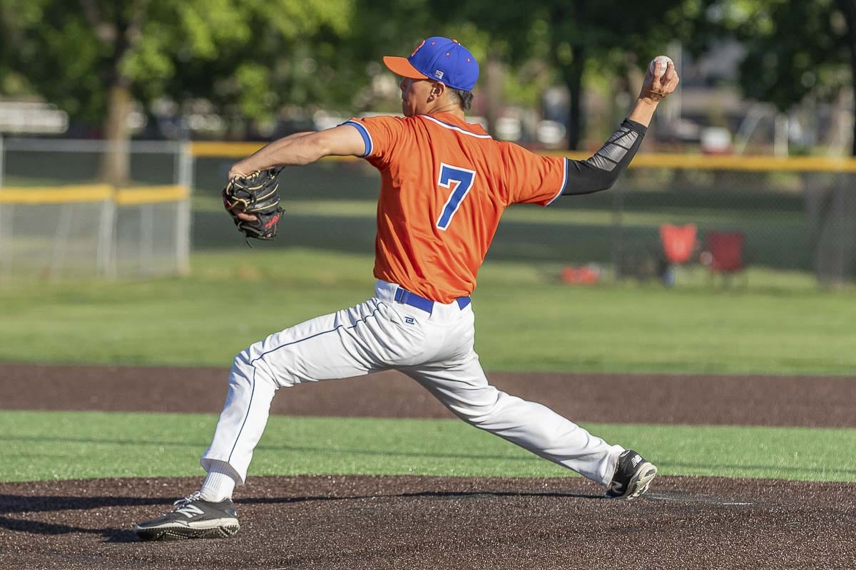 Kellen Bringhurst of Ridgefield threw into the sixth inning, getting the win from the mound in Ridgefield's 4-2 victory over Columbia River in the district title game Friday at Propstra Stadium. Photo by Mike Schultz